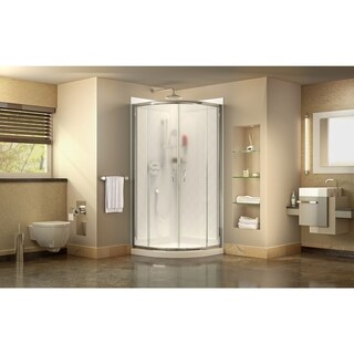 DreamLine Prime 33 in. x 33 in. x 76 3/4 in. H Shower Enclosure, Shower Base and Acrylic Backwall Kit, Frosted Glass (White - Chrome Finish)