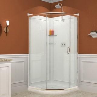 DreamLine Solo 34.375 x 34.375-inch Frameless Sliding Shower Enclosure, Base, and QWALL-4 Shower Backwall Kit