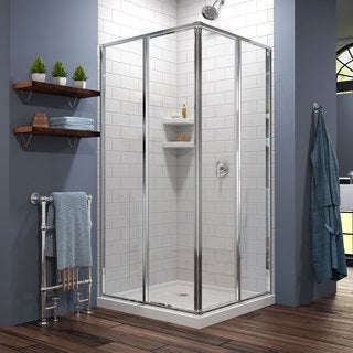 DreamLine Cornerview Framed Sliding Shower Enclosure and SlimLine 36 in. by 36 in. Double Threshold Shower Base (Option: Off-White)
