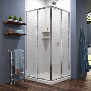 DreamLine Cornerview Framed Sliding Shower Enclosure and SlimLine 36 in. by 36 in. Double Threshold Shower Base