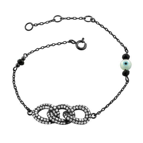 Fremada Black Rhodium Plated Sterling Silver Cubic Zirconia Triple Twisted Ovals Bracelet (7 inch)