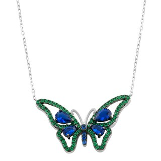Fremada Rhodium Plated Sterling Silver Blue/Green Cubic Zirconia Butterfly Necklace