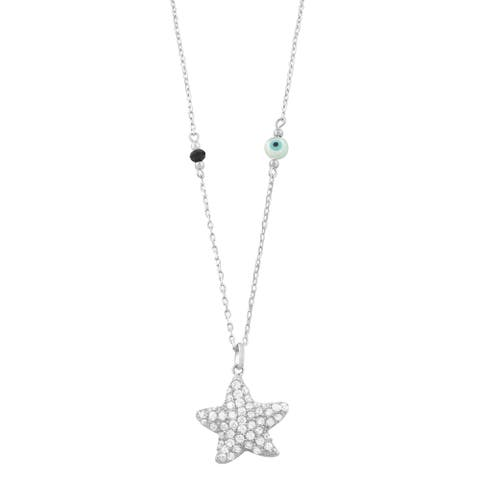 Fremada Rhodium Plated Sterling Silver Cubic Zirconia Star Necklace