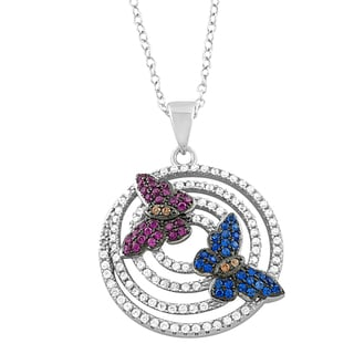 Fremada Rhodium Plated Sterling Silver Cubic Zirconia Butterflies on Rings Necklace