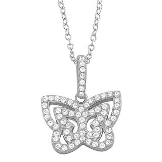 Fremada Rhodium Plated Sterling Silver Cubic Zirconia Butterfly Necklace