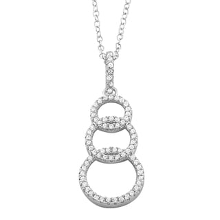 Fremada Rhodium Plated Sterling Silver Cubic Zirconia Graduated Circles Necklace