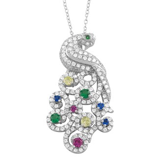 Fremada Rhodium Plated Sterling Silver Cubic Zirconia Multicolor Peacock Necklace