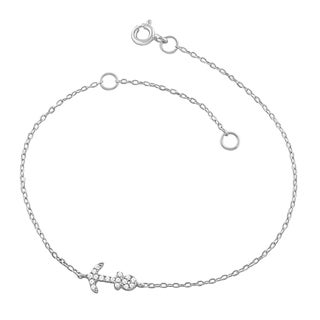 Fremada Rhodium Plated Sterling Silver Cubic Zirconia Anchor Bracelet (7.5 inch)