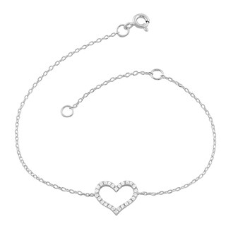 Fremada Rhodium Plated Sterling Silver Cubic Zirconia Heart Bracelet (7.5 inch)