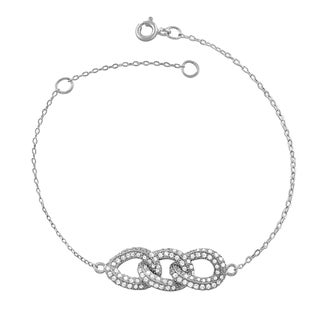Fremada Rhodium Plated Sterling Silver Cubic Zirconia Triple Twisted Ovals Bracelet (7.5 inch)