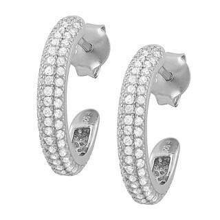 Fremada Rhodium Plated Sterling Silver Cubic Zirconia Half Hoop Earrings