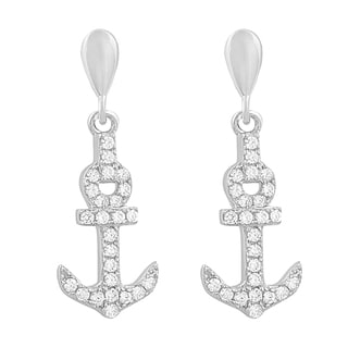 Fremada Rhodium Plated Sterling Silver Cubic Zirconia Anchor Dangle Earrings