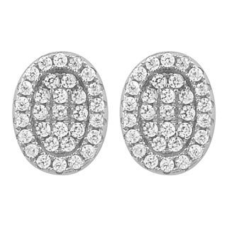 Fremada Rhodium Plated Sterling Silver Cubic Zirconia Oval Stud Earrings