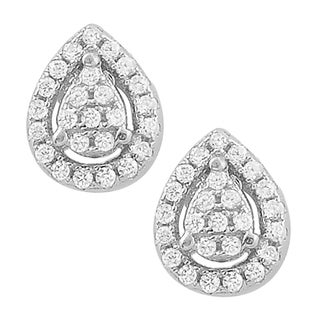 Fremada Rhodium Plated Sterling Silver Cubic Zirconia Teardrop Stud Earrings