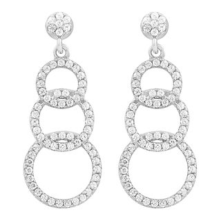 Fremada Rhodium Plated Sterling Silver Cubic Zirconia Graduated Circles Drop Earrings