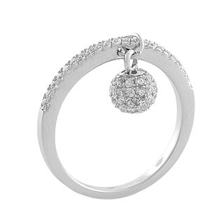 Fremada Rhodium Plated Sterling Silver Cubic Zirconia Ball Ring (size 6, 7, or 8)