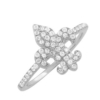 Fremada Rhodium Plated Sterling Silver Cubic Zirconia Fleur De Lis Ring (size 6, 7, or 8)