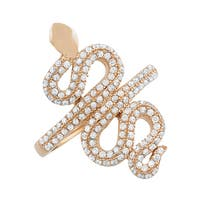 Fremada Pink Gold Over Sterling Silver Cubic Zirconia Snake Ring (size 6, 7, or 8)