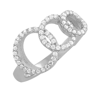 Fremada Rhodium Plated Sterling Silver Cubic Zirconia Graduated Circles Ring (size 6, 7, or 8)