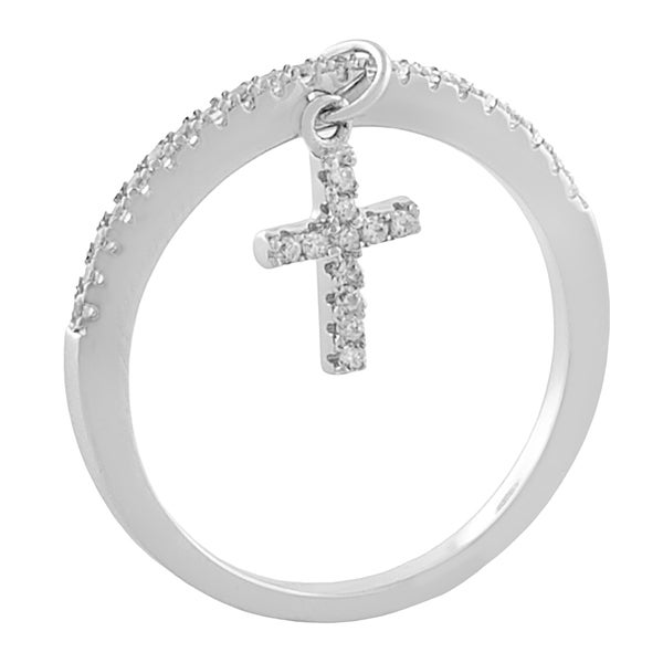 Fremada Rhodium Plated Sterling Silver Cubic Zirconia Cross Ring (size 6, 7, or 8)