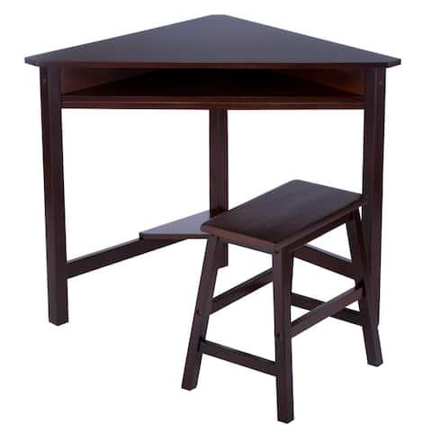 Dark Espresso Corner Desk and Bench Set