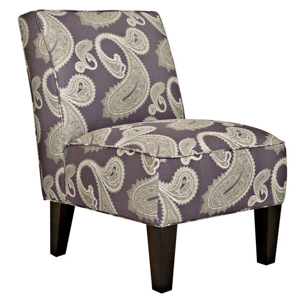 Handy Living Dover Feathered Paisley Amethyst Purple Armless Chair