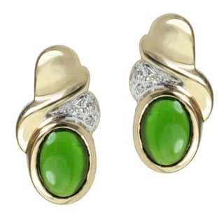 Michael Valitutti 14k Yellow Gold Chrome Diopside and Diamond Earrings