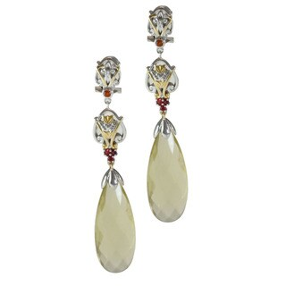 Michael Valitutti Two-tone Lemon Quartz, Madiera Citrine and Orange Sapphire Earrings