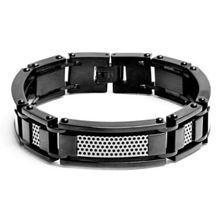 Crucible Stainless Steel Grill Inlay 8.5-inch Link Bracelet