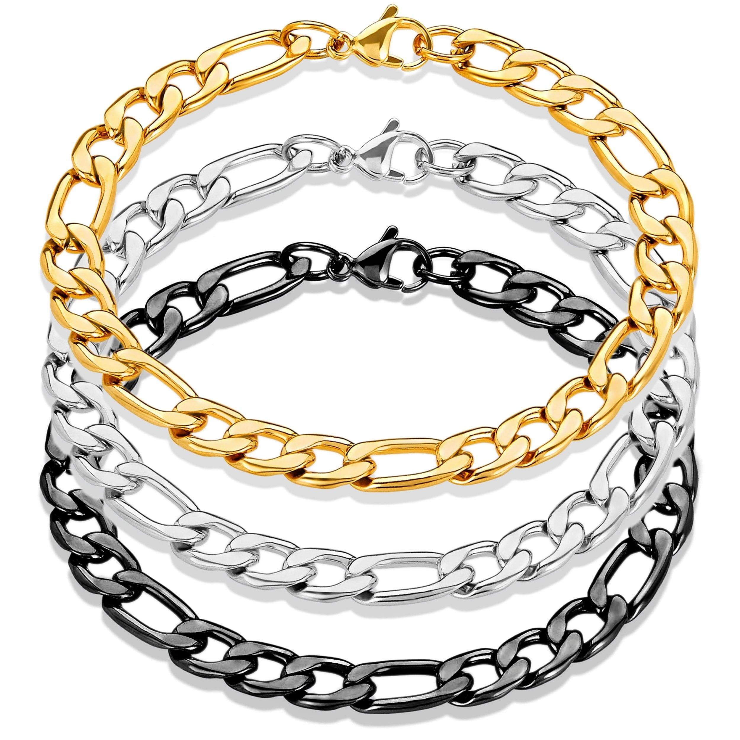 """7/""""-10/""""MEN WOMEN Stainless Steel 5.5mm Gold Figaro Link Chain Bracelet"""