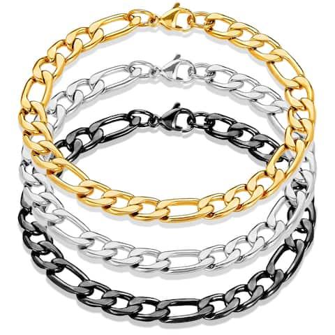 Men's Stainless Steel Figaro Chain Bracelet (7.5mm) - 8.25 Inches