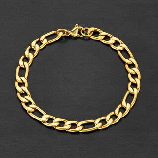 Crucible Stainless Steel Figaro Chain Bracelet (7.5mm) - 8.25 Inches