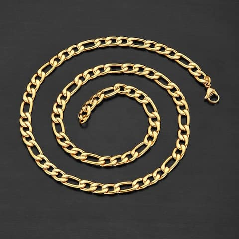 Stainless Steel Crucible Figaro Chain Necklace (7.5mm Wide)