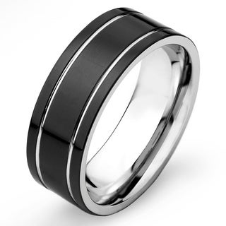 Link to Crucible Black Plated Stainless Steel Flat Dual Groove Band Similar Items in Men's Jewelry