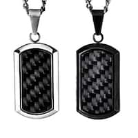 Crucible Black-plated Steel Men's Black Carbon Fiber Inlay Dog Tag Necklace