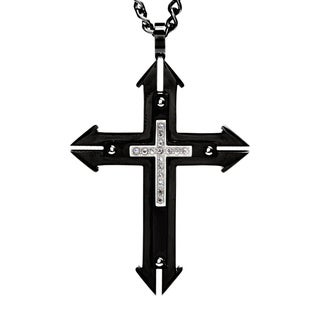 Black-plated Stainless Steel Men's Crucible CZ Layered Cross Necklace