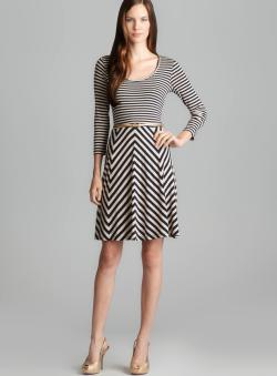 Calvin Klein Long Sleeve Scoop Neck Belted Stripe Dress