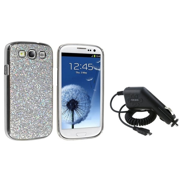 INSTEN Silver Glitter Phone Case Cover/ Car Charger for Samsung Galaxy SIII/ S3