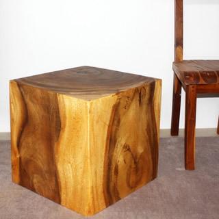 Handmade 18-inch Oak Oil Cube Stool (Thailand)