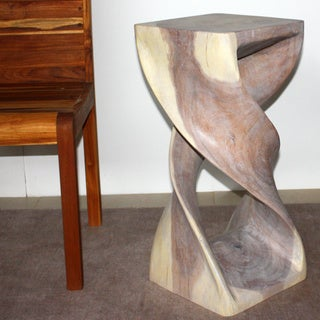 Handmade 12 x 26 Agate Grey Oiled Double Twist Stool (Thailand)