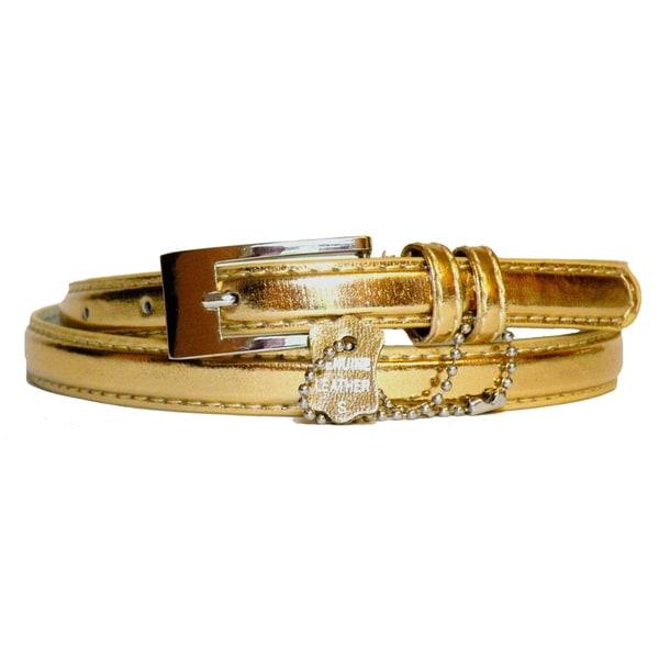 Women's Metallic Leather Skinny Belt