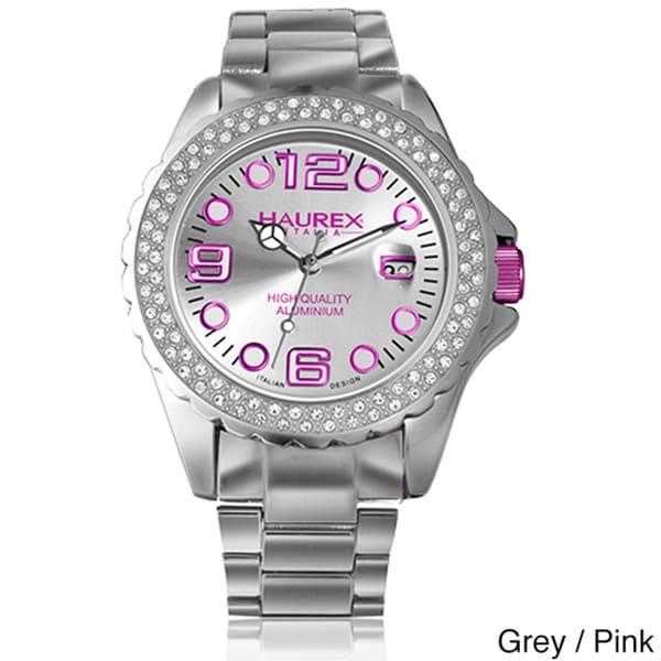 Haurex women 39 s 39 inkstones 39 aluminum crystal watch free shipping on orders over 45 overstock for Haurex watches