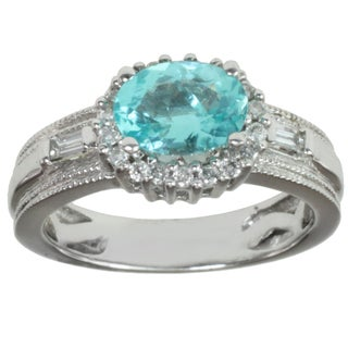Michael Valitutti 14K White Gold Baguette-cut Blue Zircon and Diamond Ring