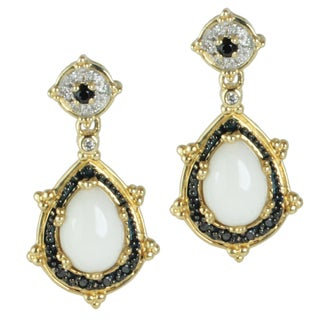 Michael Valitutti 14k Yellow Gold Cachalong, Black Spinel and Black and White Diamond Earrings