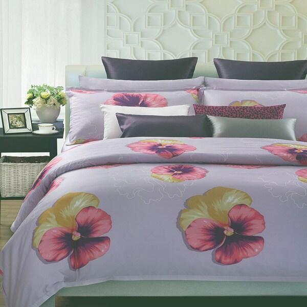EverRouge Purple Spring Floral 7-piece Cotton Duvet Set