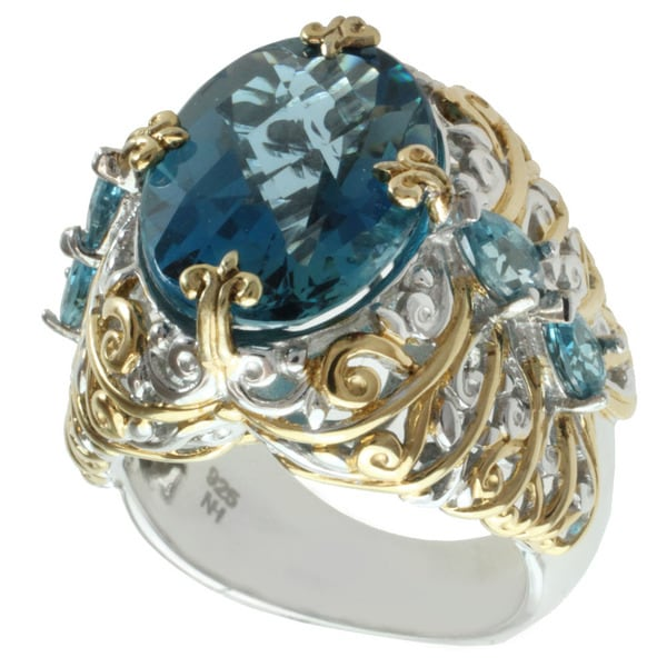 Michael valitutti two tone london blue topaz and swiss for Michael b jewelry death