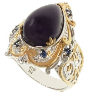 Michael Valitutti Two-tone Pear-cut Amethyst and Blue Sapphire Ring