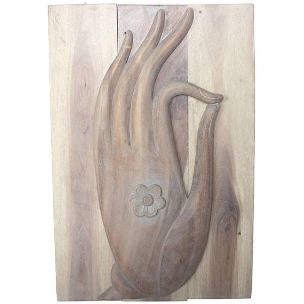 "Handmade Agate Gray Oil Wood Mudra Hand Panel - 20"" x 30"" (Thailand)"