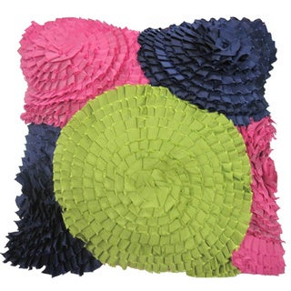 Handmade Garden Ruffles Decorative Pillow (India)