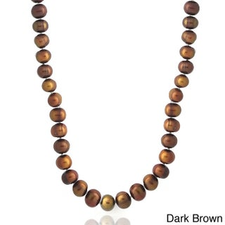 Glitzy Rocks Colored Freshwater Pearl 36-inch Necklace (Option: Dark Brown)